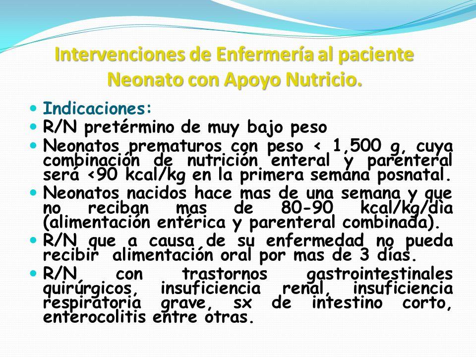 Intervenciones de Enfermería al paciente Neonato con Apoyo Nutricio. Indicaciones: R/N pretérmino de muy bajo peso Neonatos prematuros con peso < 1,50