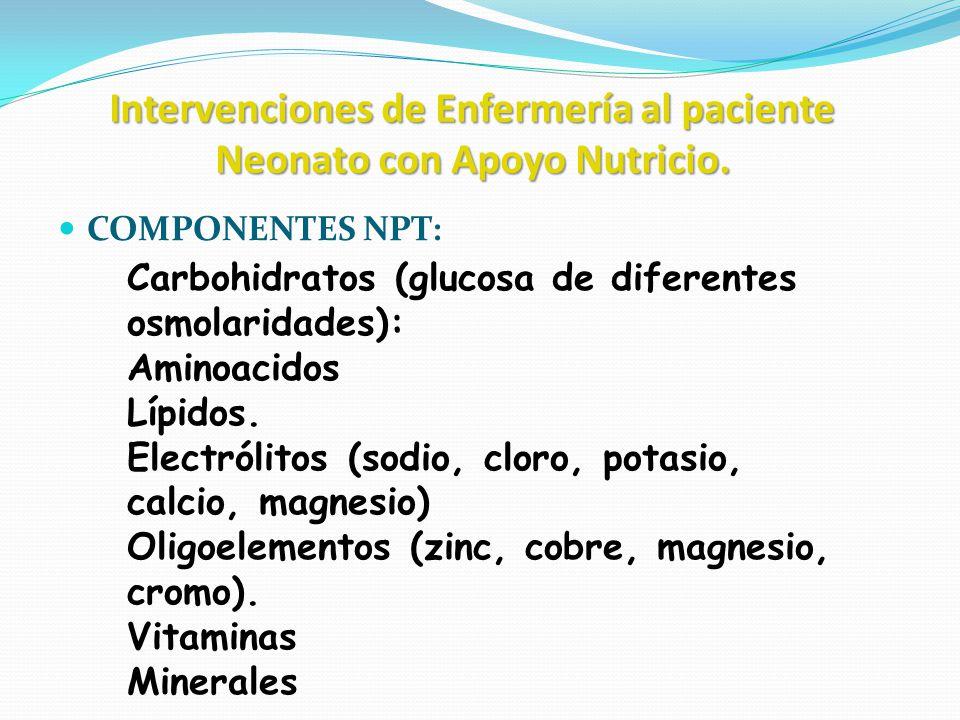 Intervenciones de Enfermería al paciente Neonato con Apoyo Nutricio. COMPONENTES NPT: Carbohidratos (glucosa de diferentes osmolaridades): Aminoacidos