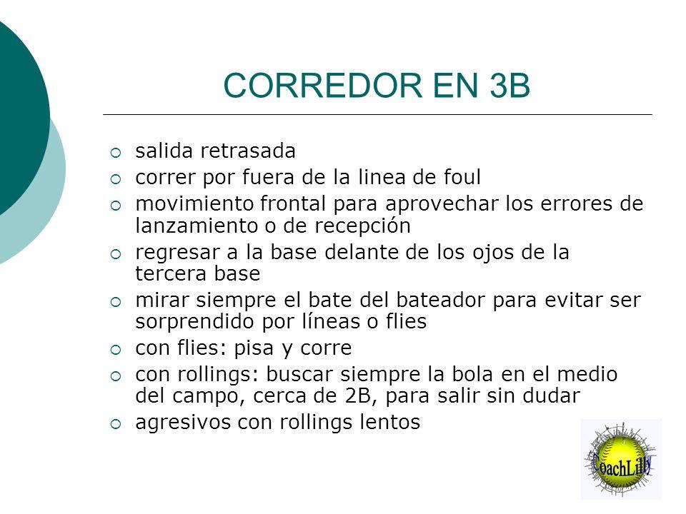 CORREDOR EN 3B  salida retrasada  correr por fuera de la linea de foul  movimiento frontal para aprovechar los errores de lanzamiento o de recepció