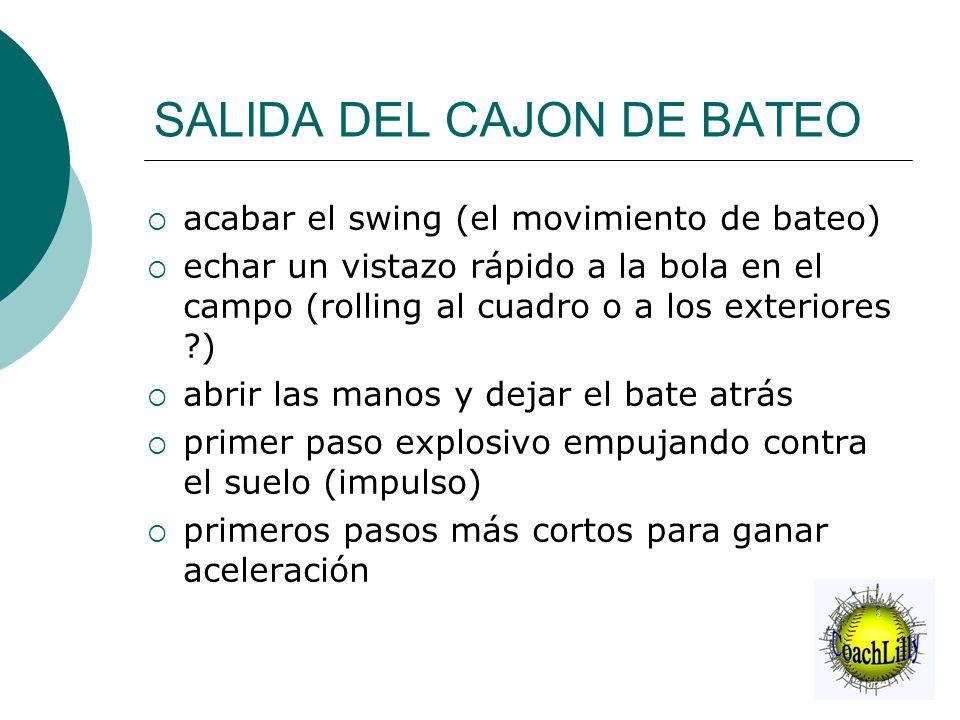 SALIDA DEL CAJON DE BATEO  acabar el swing (el movimiento de bateo)  echar un vistazo rápido a la bola en el campo (rolling al cuadro o a los exteri