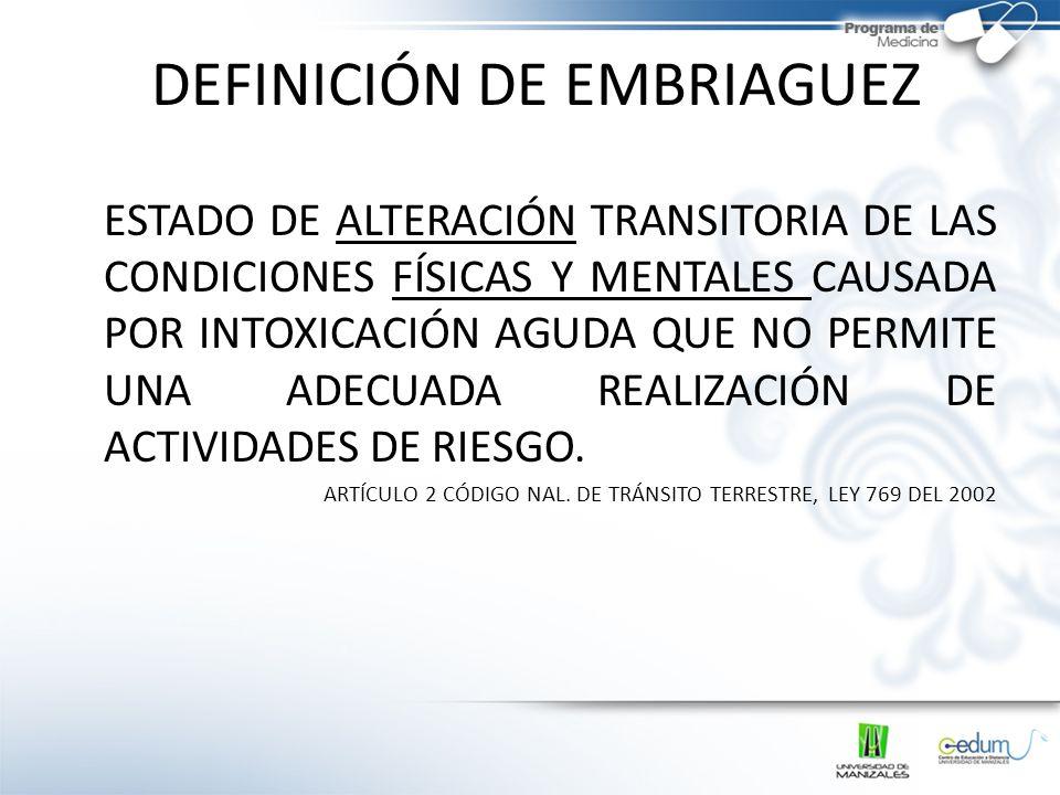 DEFINICIÓN DE EMBRIAGUEZ ESTADO DE ALTERACIÓN TRANSITORIA DE LAS CONDICIONES FÍSICAS Y MENTALES CAUSADA POR INTOXICACIÓN AGUDA QUE NO PERMITE UNA ADEC