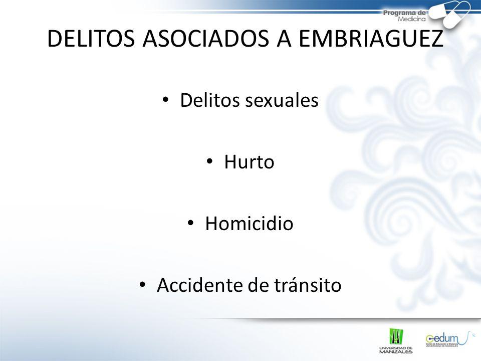DELITOS ASOCIADOS A EMBRIAGUEZ Delitos sexuales Hurto Homicidio Accidente de tránsito