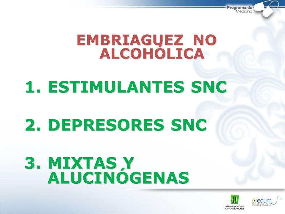 EMBRIAGUEZ NO ALCOHÓLICA 1.ESTIMULANTES SNC 2.DEPRESORES SNC 3.MIXTAS Y ALUCINÓGENAS