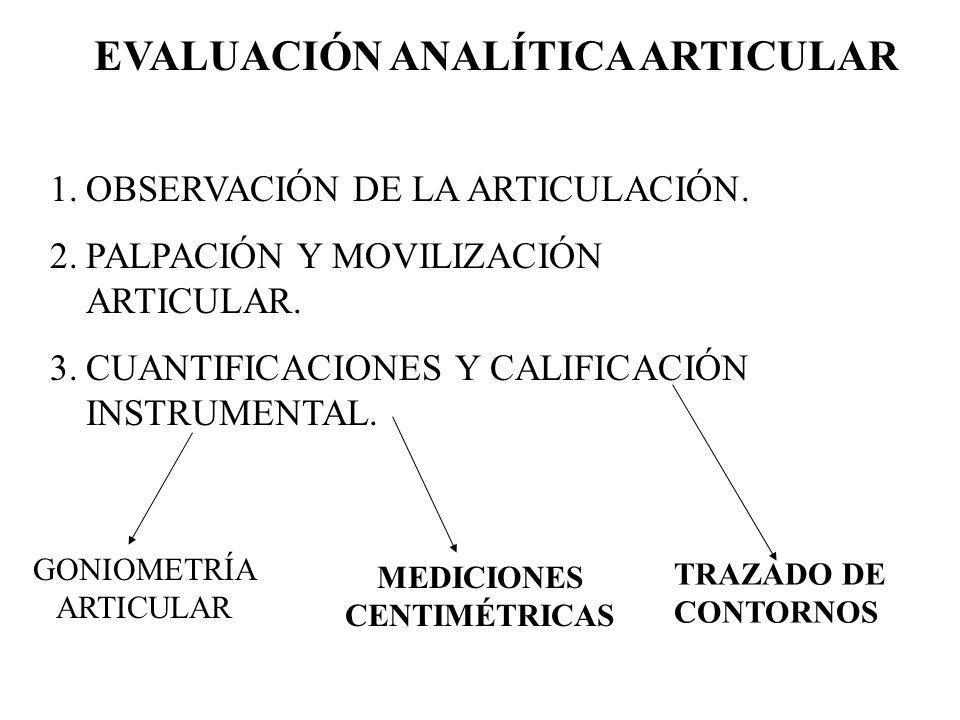 EVALUACIÓN ANALÍTICA ARTICULAR 1.OBSERVACIÓN DE LA ARTICULACIÓN. 2.PALPACIÓN Y MOVILIZACIÓN ARTICULAR. 3.CUANTIFICACIONES Y CALIFICACIÓN INSTRUMENTAL.