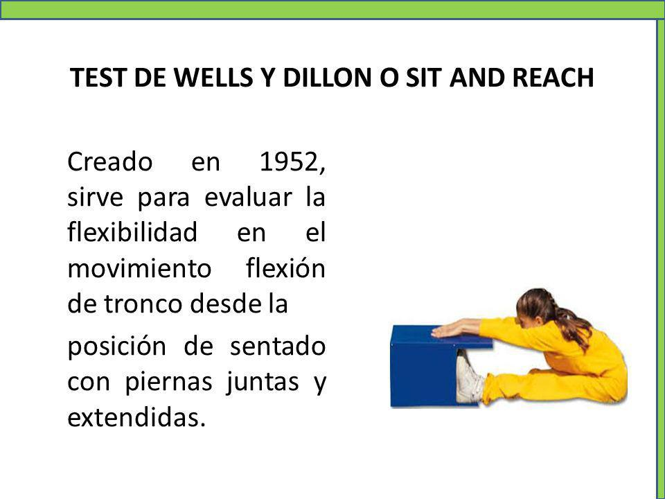 Creado en 1952, sirve para evaluar la flexibilidad en el movimiento flexión de tronco desde la posición de sentado con piernas juntas y extendidas. TE
