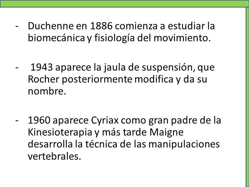 -Duchenne en 1886 comienza a estudiar la biomecánica y fisiología del movimiento. - 1943 aparece la jaula de suspensión, que Rocher posteriormente mod