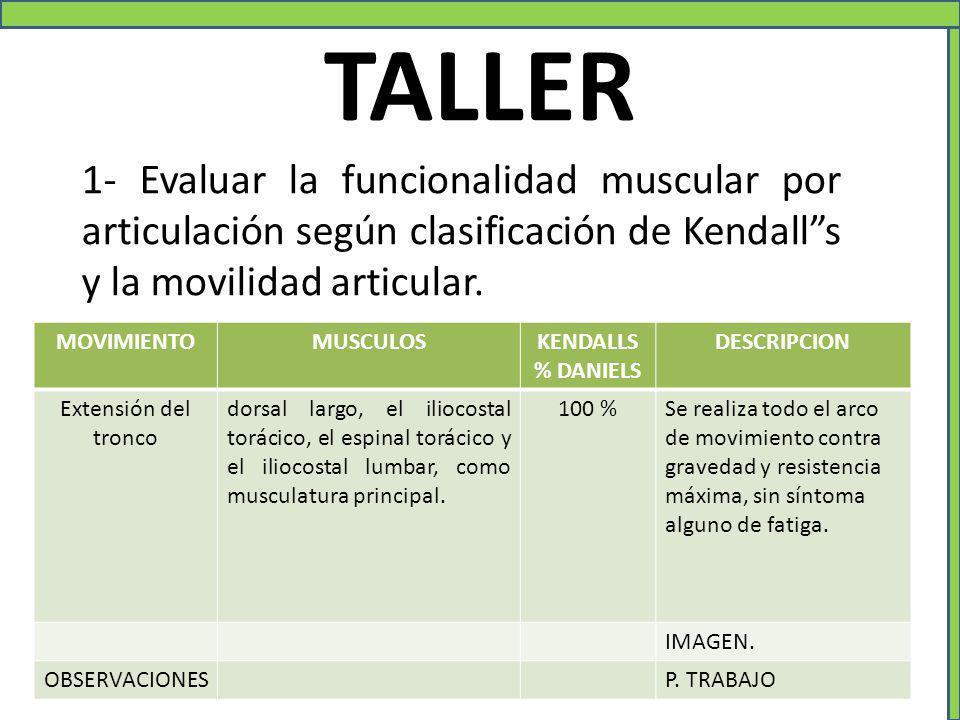 """1- Evaluar la funcionalidad muscular por articulación según clasificación de Kendall""""s y la movilidad articular. TALLER MOVIMIENTOMUSCULOSKENDALLS % D"""