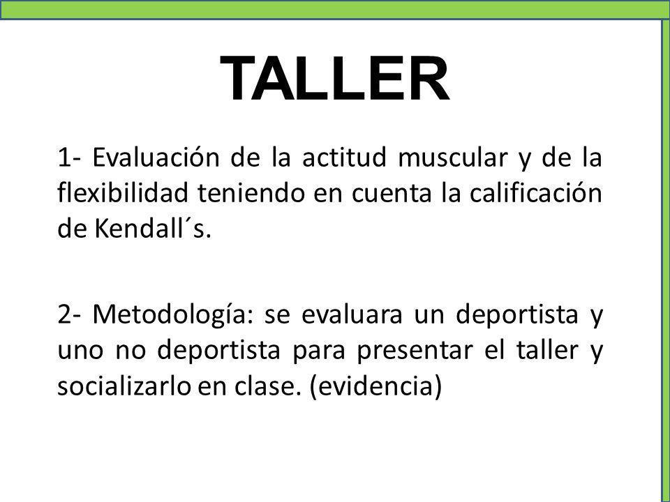 TALLER 1- Evaluación de la actitud muscular y de la flexibilidad teniendo en cuenta la calificación de Kendall´s. 2- Metodología: se evaluara un depor
