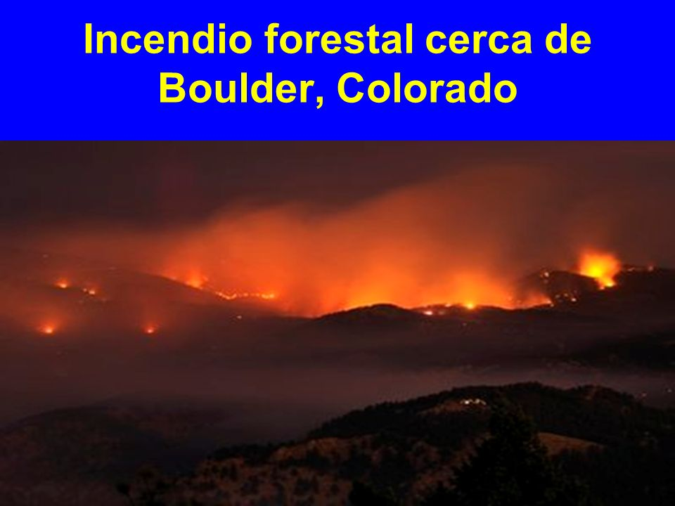 Incendio forestal cerca de Boulder, Colorado