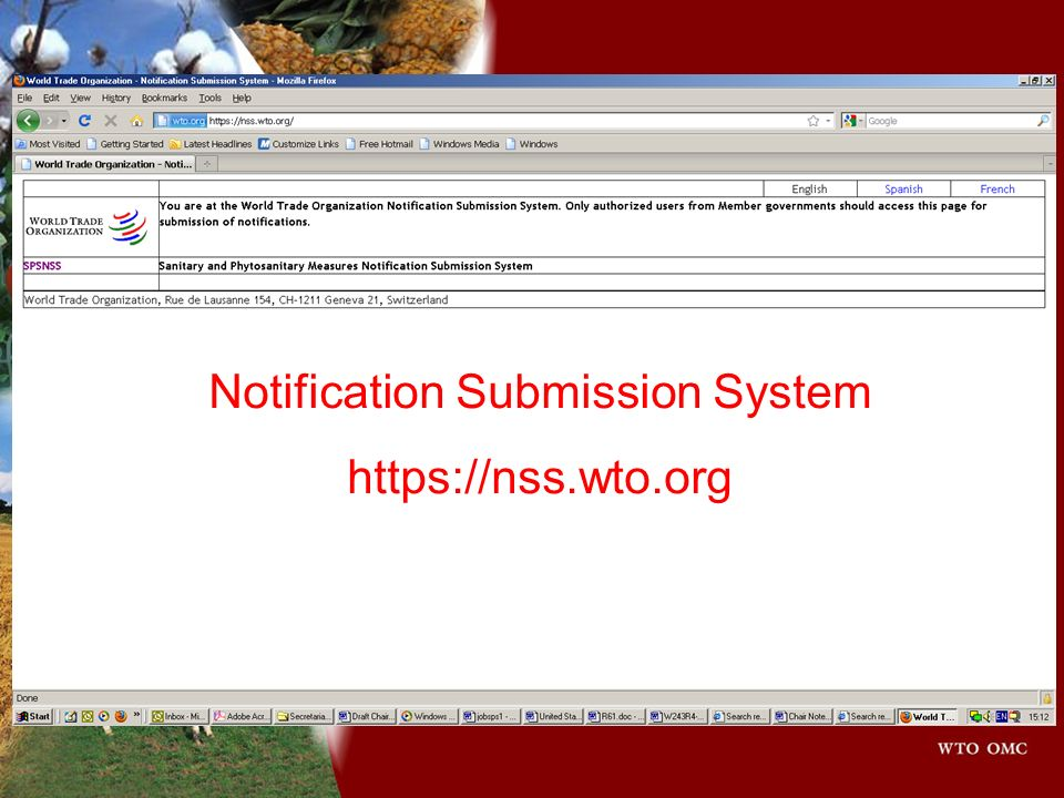 Notification Submission System https://nss.wto.org