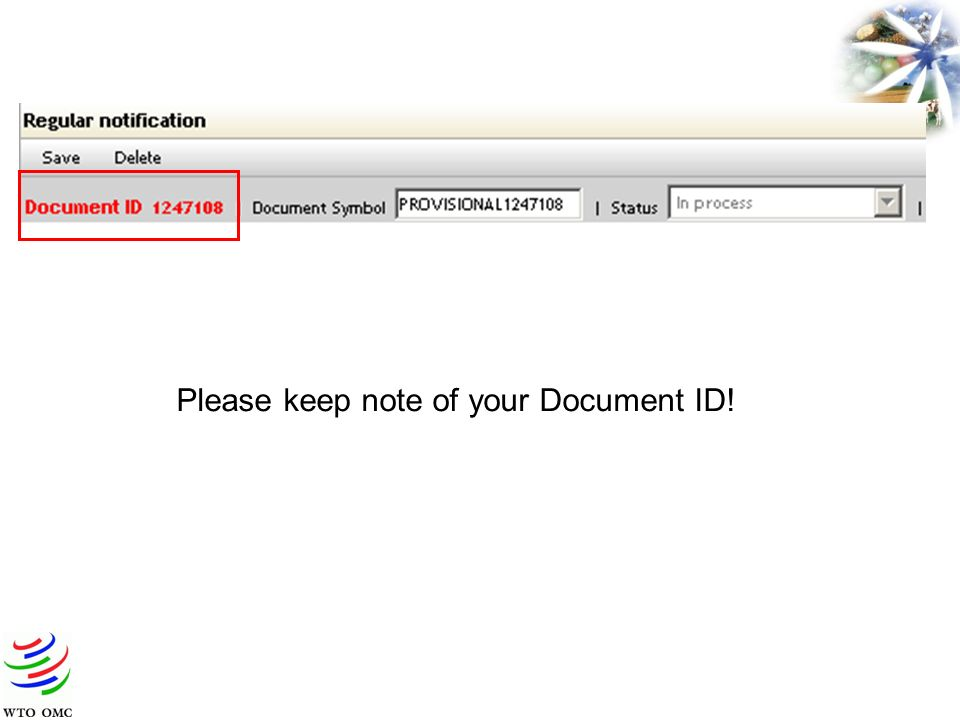 Please keep note of your Document ID!