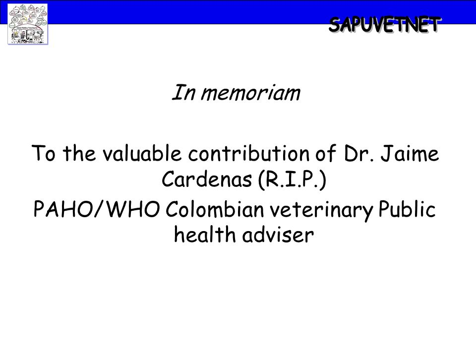 In memoriam To the valuable contribution of Dr.