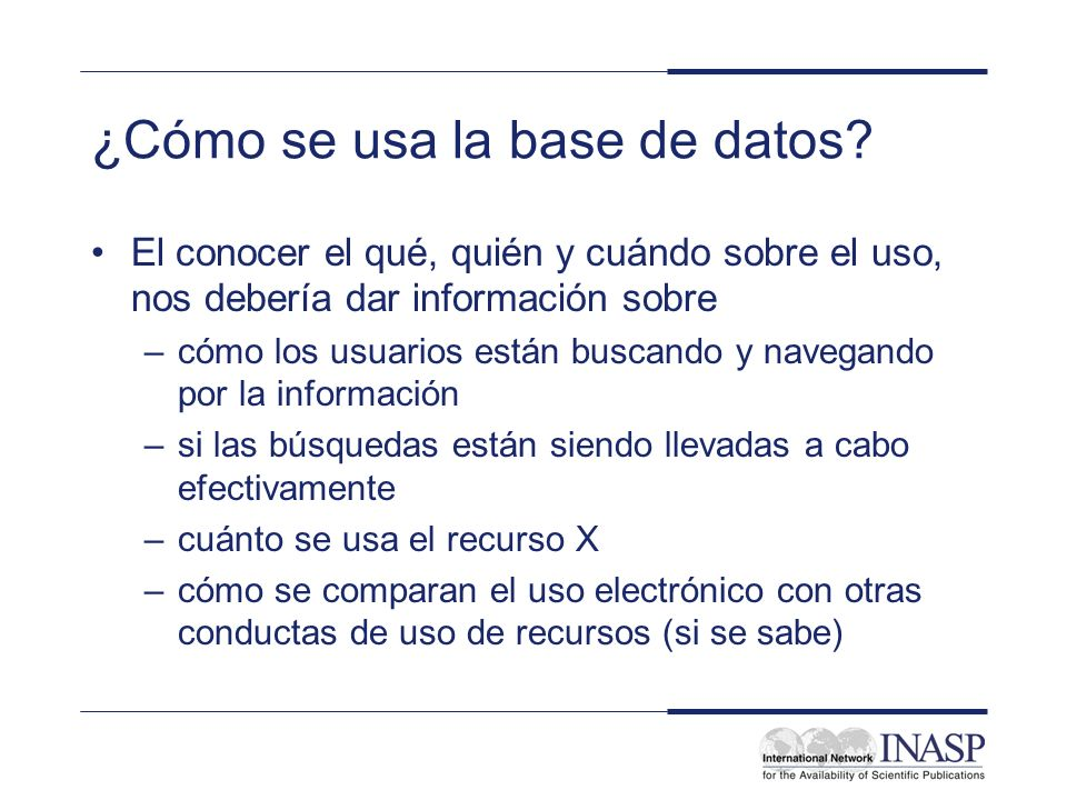 ¿Cómo se usa la base de datos.