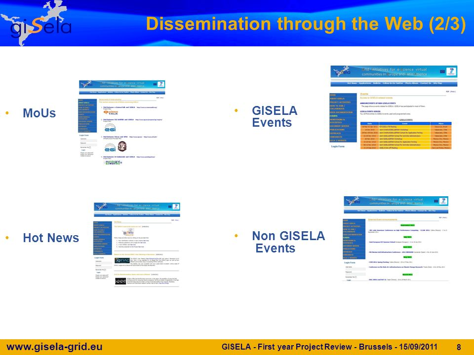 www.gisela-grid.eu GISELA - First year Project Review - Brussels - 15/09/2011 8 Dissemination through the Web (2/3) MoUs Hot News GISELA Events Non GISELA Events