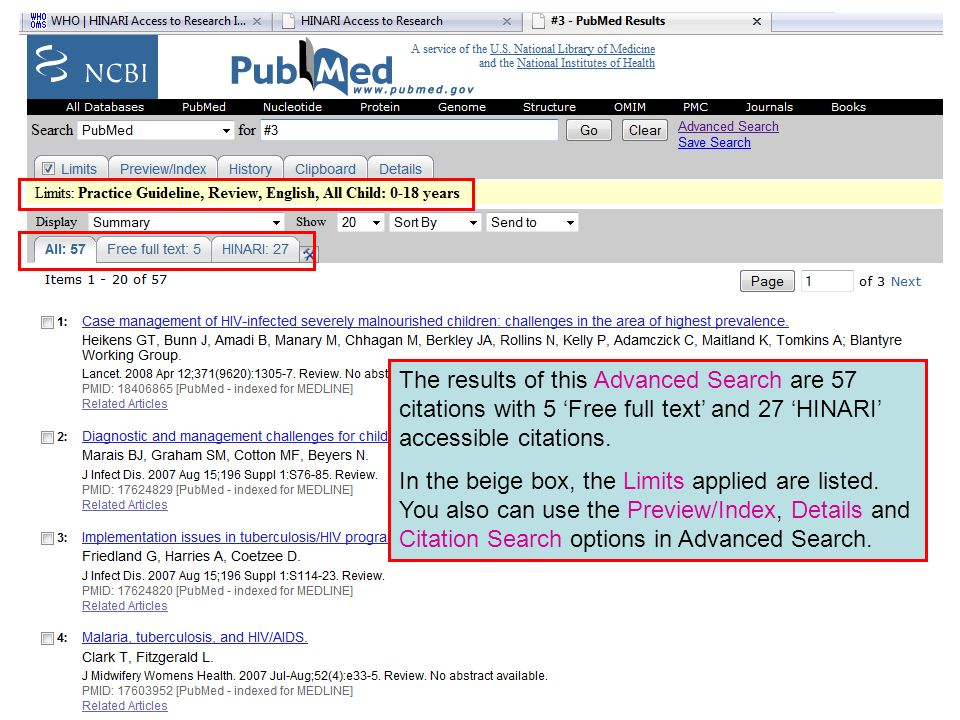The results of this Advanced Search are 57 citations with 5 Free full text and 27 HINARI accessible citations.