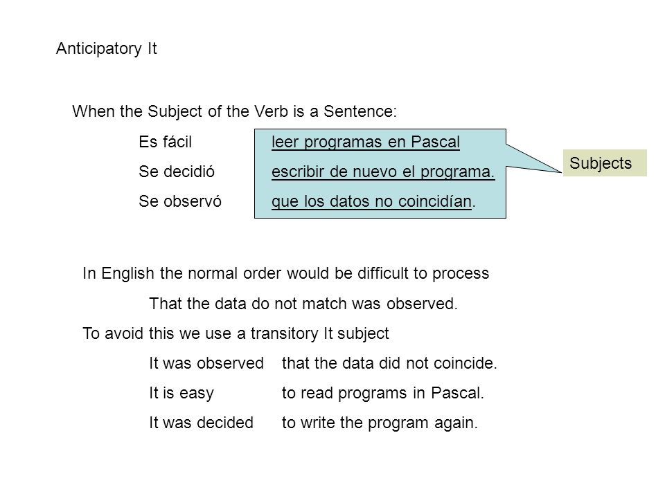 Anticipatory It When the Subject of the Verb is a Sentence: Es fácil leer programas en Pascal Se decidió escribir de nuevo el programa.