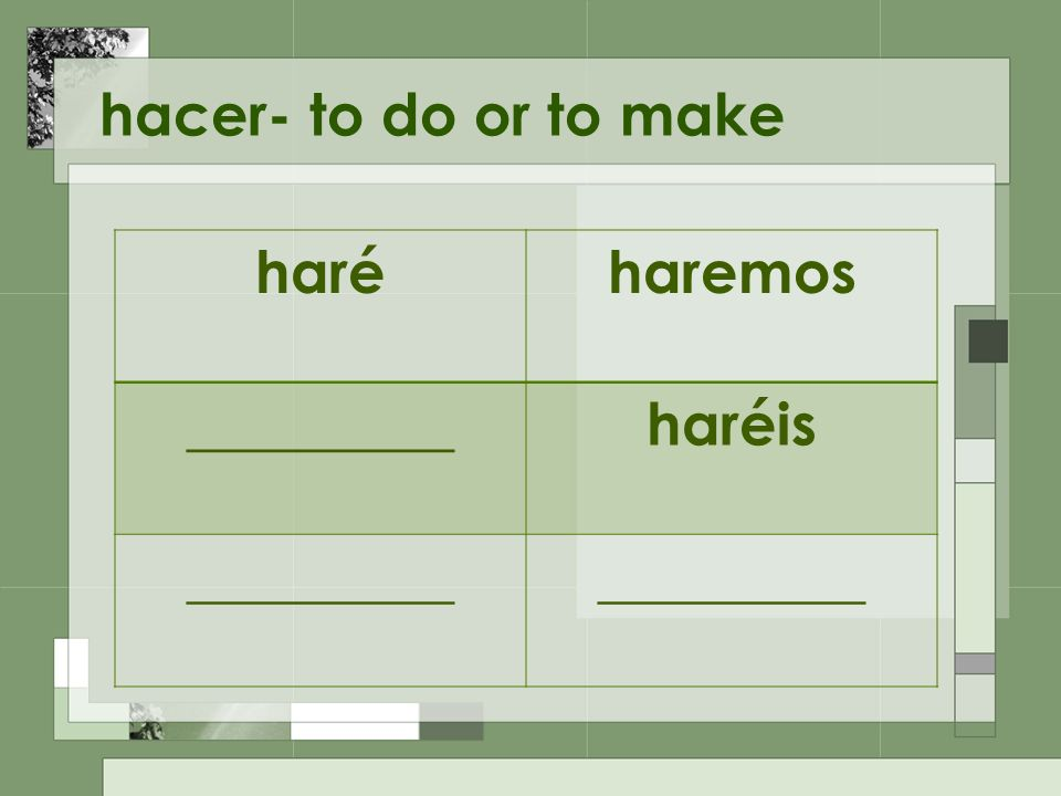 hacer- to do or to make haréharemos _________haréis _________