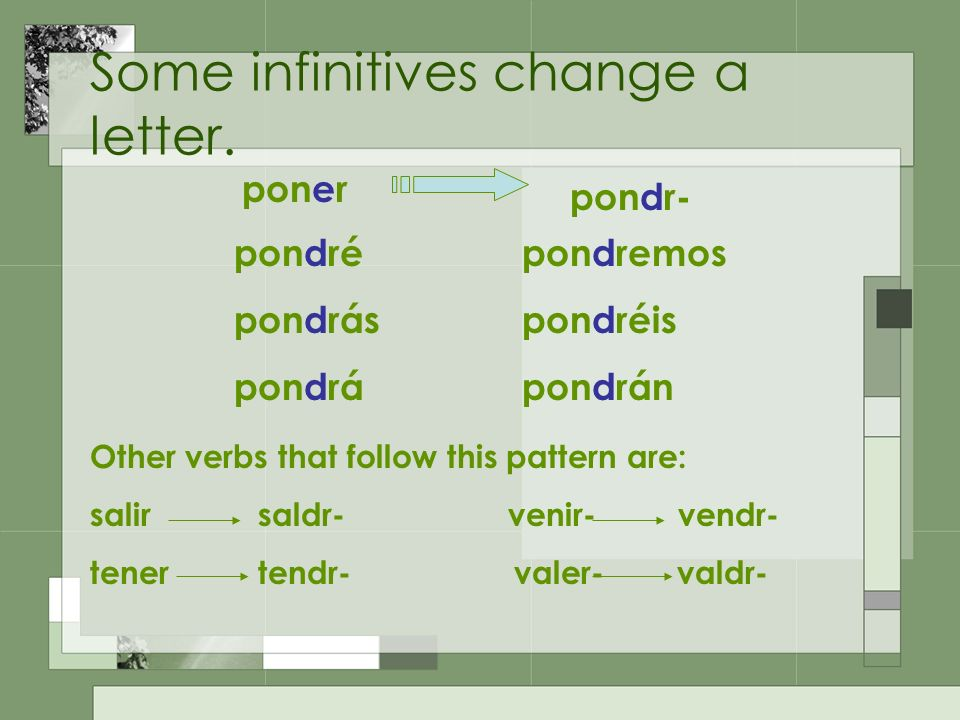 Some infinitives change a letter.