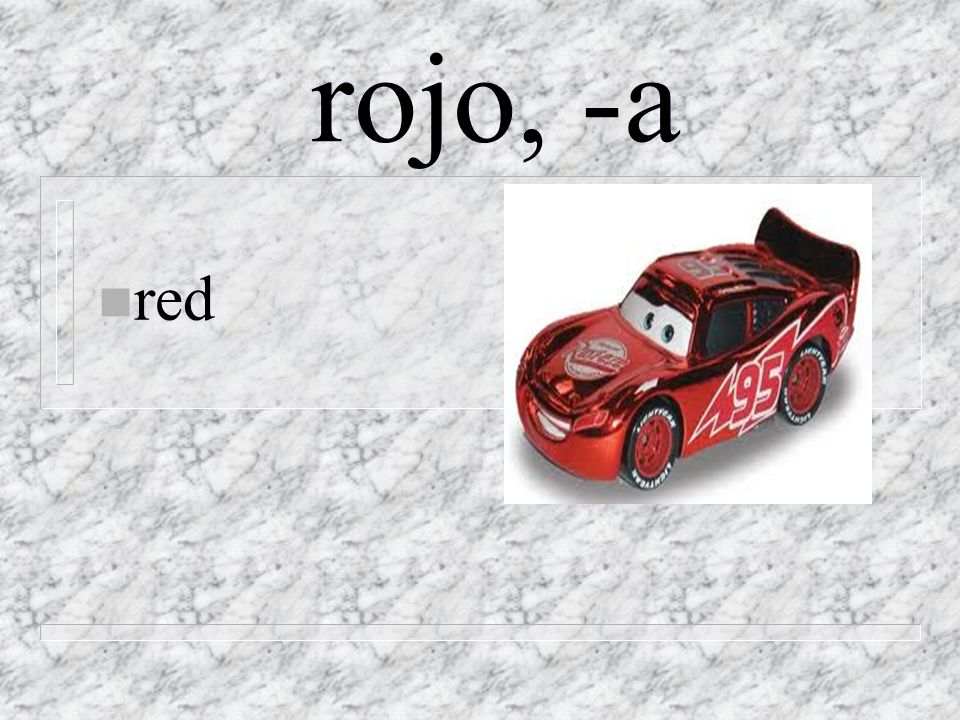 rojo, -a n red
