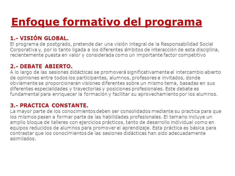 Enfoque formativo del programa 1.- VISIÓN GLOBAL.