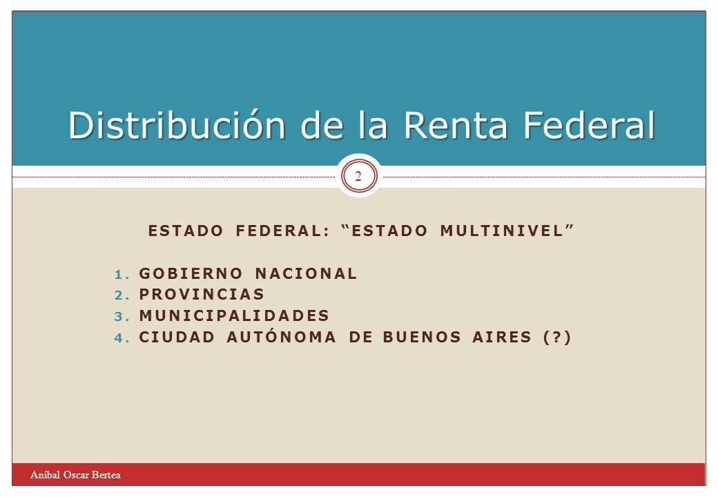 ESTADO FEDERAL: ESTADO MULTINIVEL 1. GOBIERNO NACIONAL 2.
