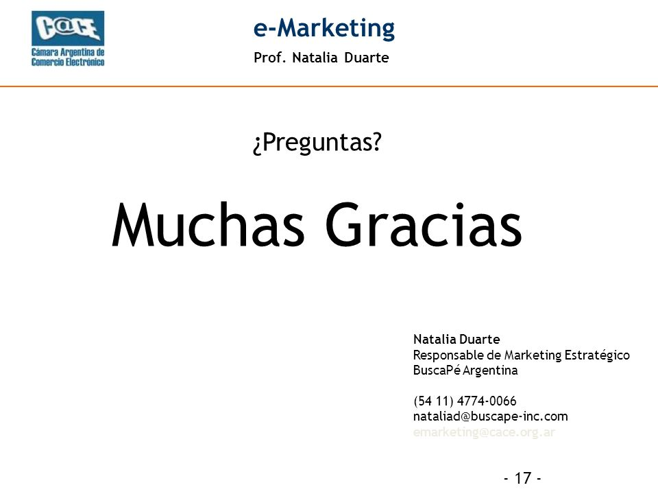Prof. Natalia Duarte e-Marketing - 17 - ¿Preguntas.