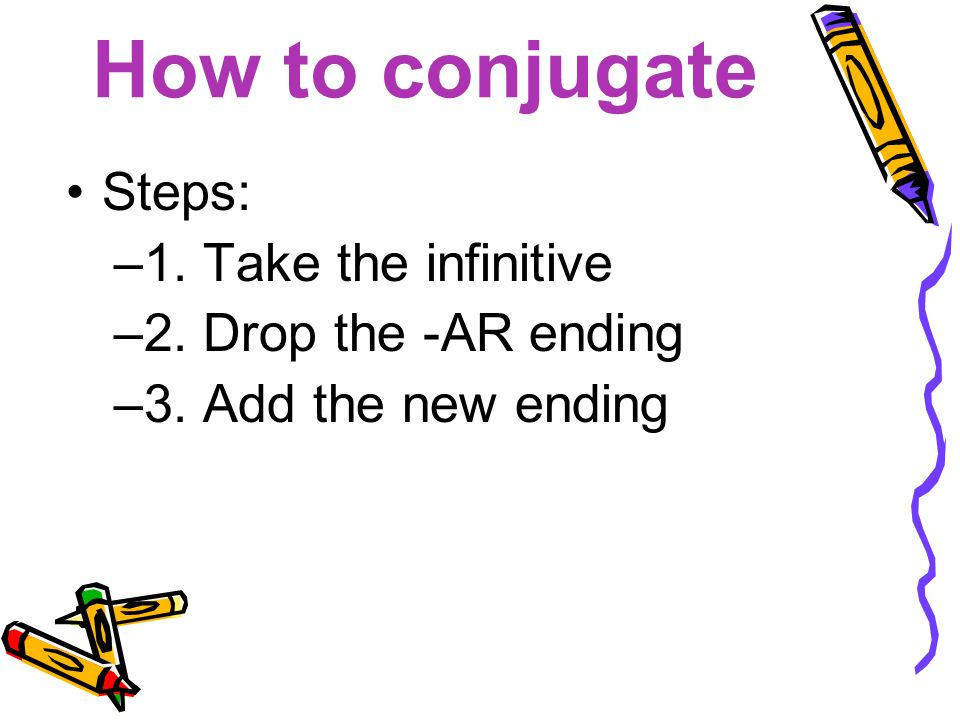 How to conjugate Steps: –1. Take the infinitive –2. Drop the -AR ending –3. Add the new ending