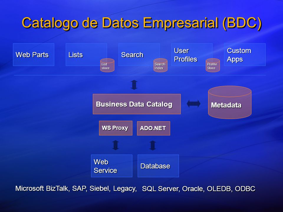 Metadata Business Data Catalog Web Parts ListsSearch User Profiles Custom Apps Database WS Proxy ADO.NET Web Service SQL Server, Oracle, OLEDB, ODBC Microsoft BizTalk, SAP, Siebel, Legacy, List store SearchIndex Profile Store Catalogo de Datos Empresarial (BDC)