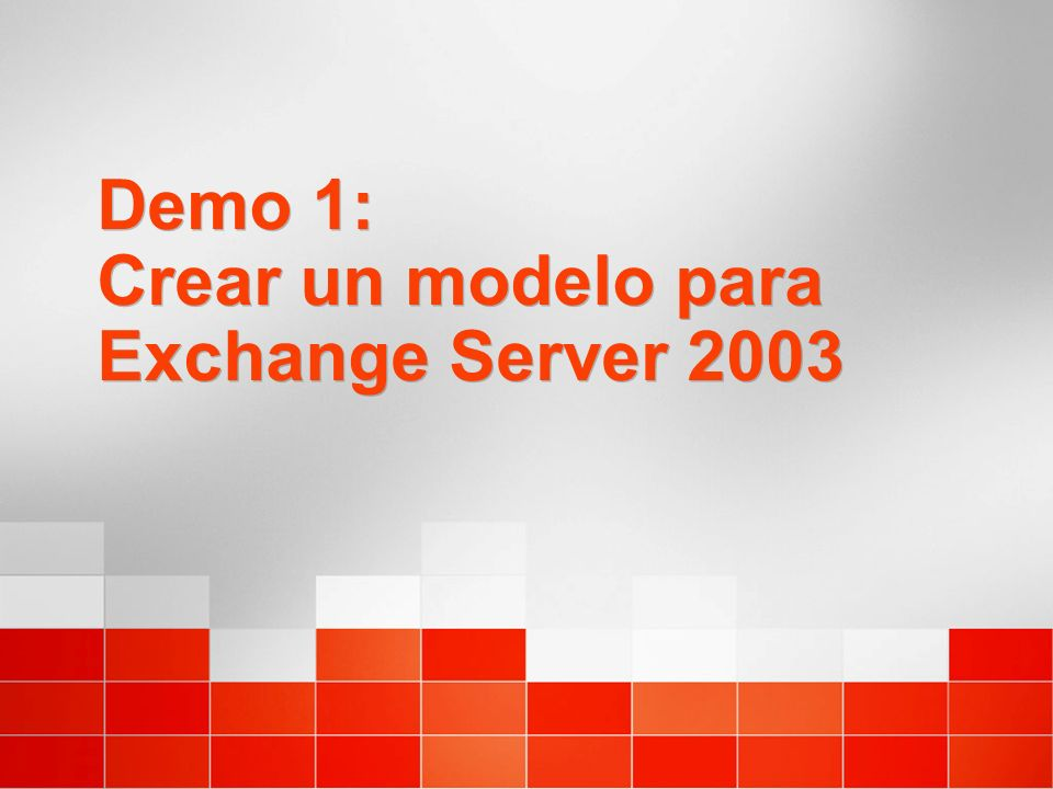 Demo 1: Crear un modelo para Exchange Server 2003