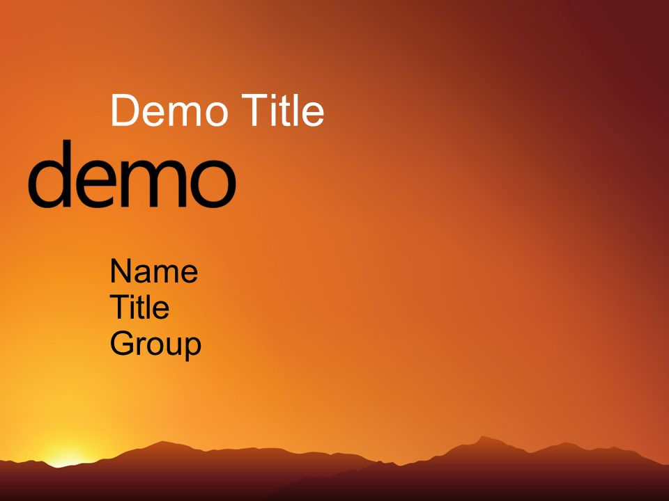 Demo Title Name Title Group