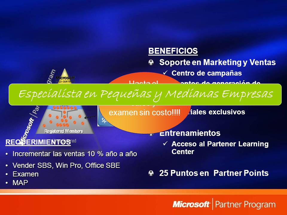 BENEFICIOS Soporte en Marketing y Ventas Centro de campañas Eventos de generación de demanda Uso del logo Materiales exclusivos Entrenamientos Acceso al Partener Learning Center 25 Puntos en Partner Points Hasta el 30 de mayo, curso y examen sin costo!!!.