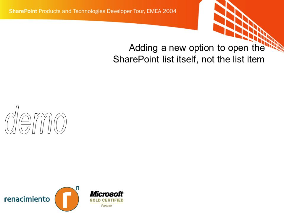 Adding a new option to open the SharePoint list itself, not the list item