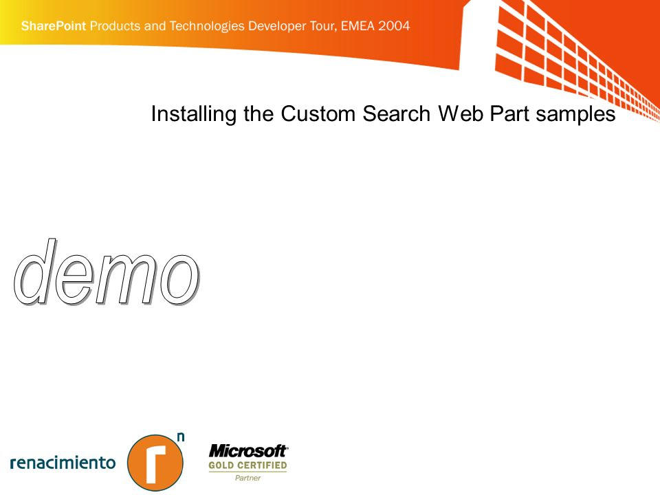 Installing the Custom Search Web Part samples