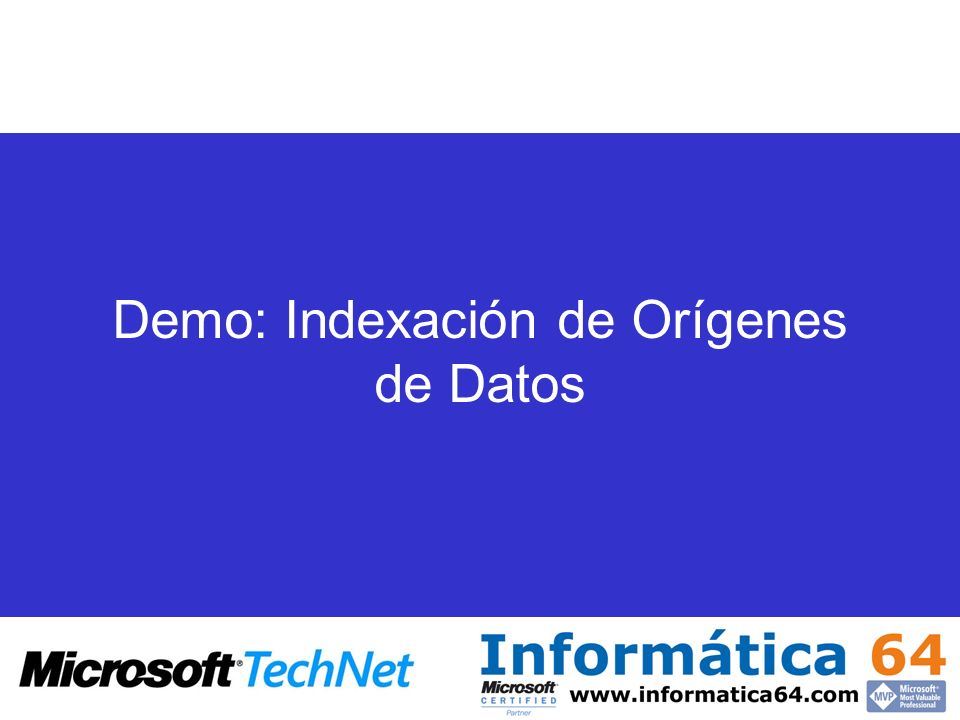 Demo: Indexación de Orígenes de Datos