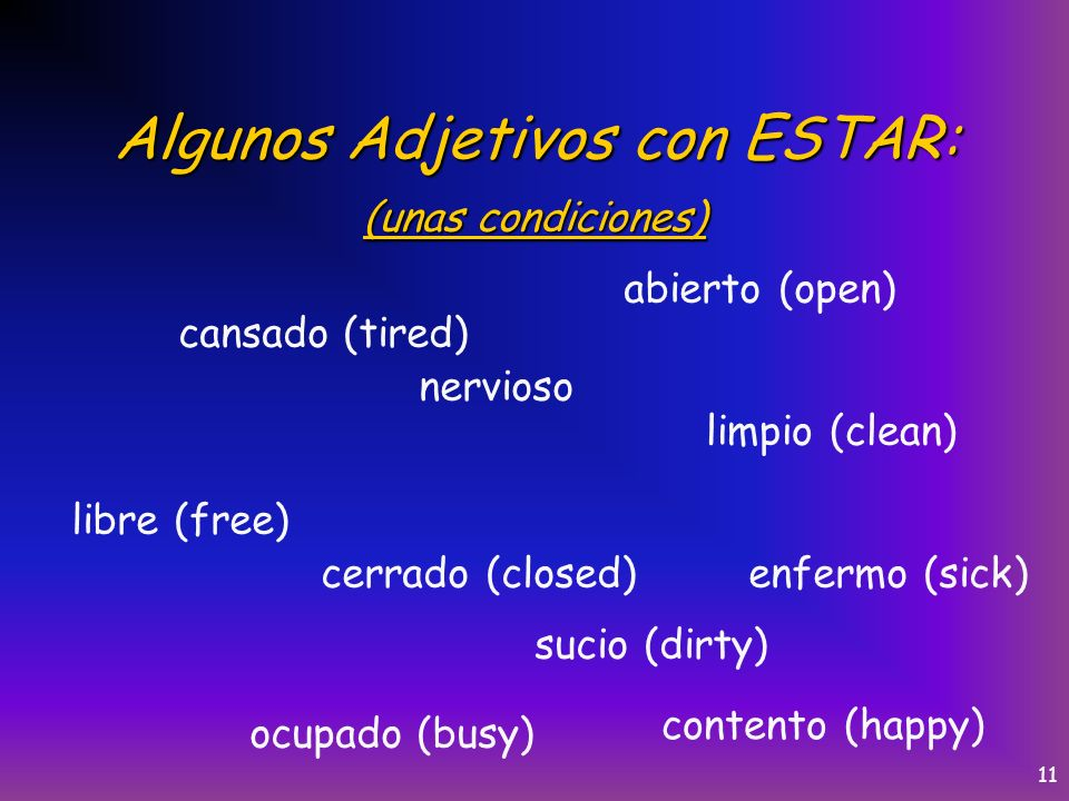 10 Los usos del verbo Estar: For estar use the acronym PLACE Position: expresses the physical position or posture of a person or thing.