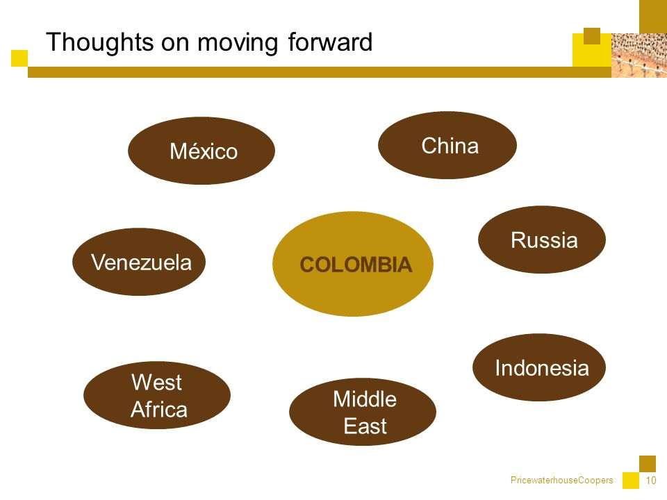 PricewaterhouseCoopers 10 Thoughts on moving forward China Venezuela México COLOMBIA West Africa Middle East Indonesia Russia