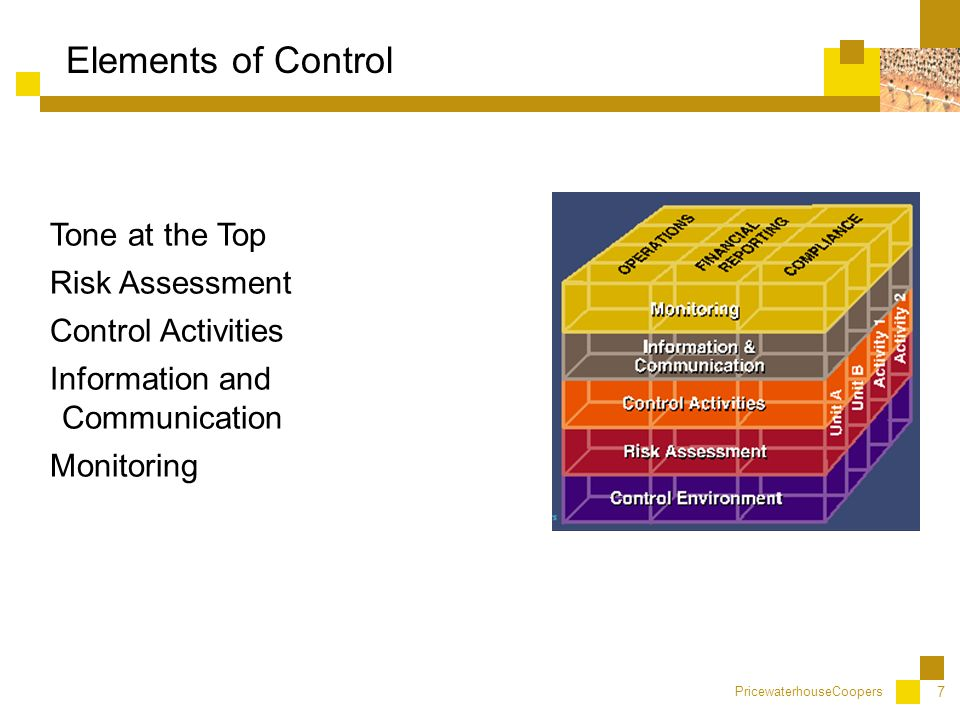PricewaterhouseCoopers 7 Elements of Control Tone at the Top Risk Assessment Control Activities Information and Communication Monitoring
