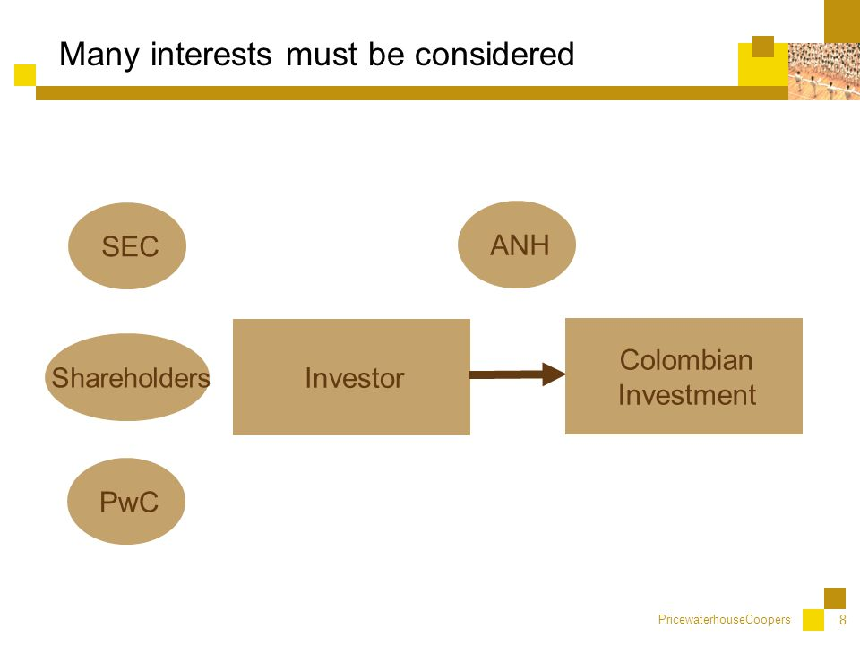 PricewaterhouseCoopers 8 Many interests must be considered Colombian Investment Investor ANH PwC SEC Shareholders
