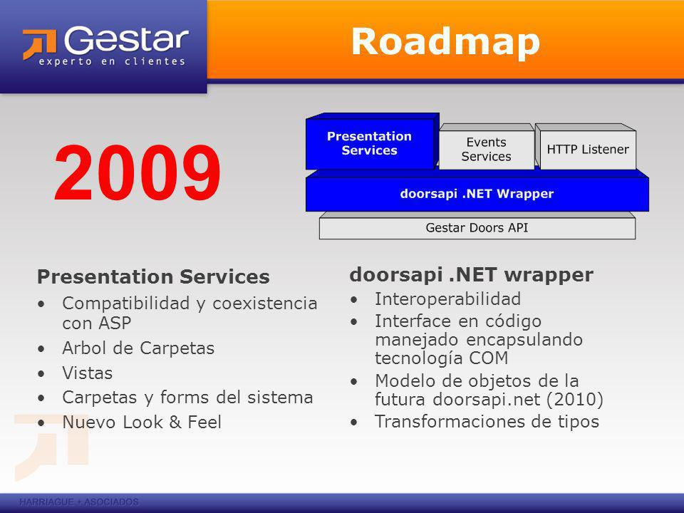 Roadmap Presentation Services Compatibilidad y coexistencia con ASP Arbol de Carpetas Vistas Carpetas y forms del sistema Nuevo Look & Feel 2009 doorsapi.NET wrapper Interoperabilidad Interface en código manejado encapsulando tecnología COM Modelo de objetos de la futura doorsapi.net (2010) Transformaciones de tipos