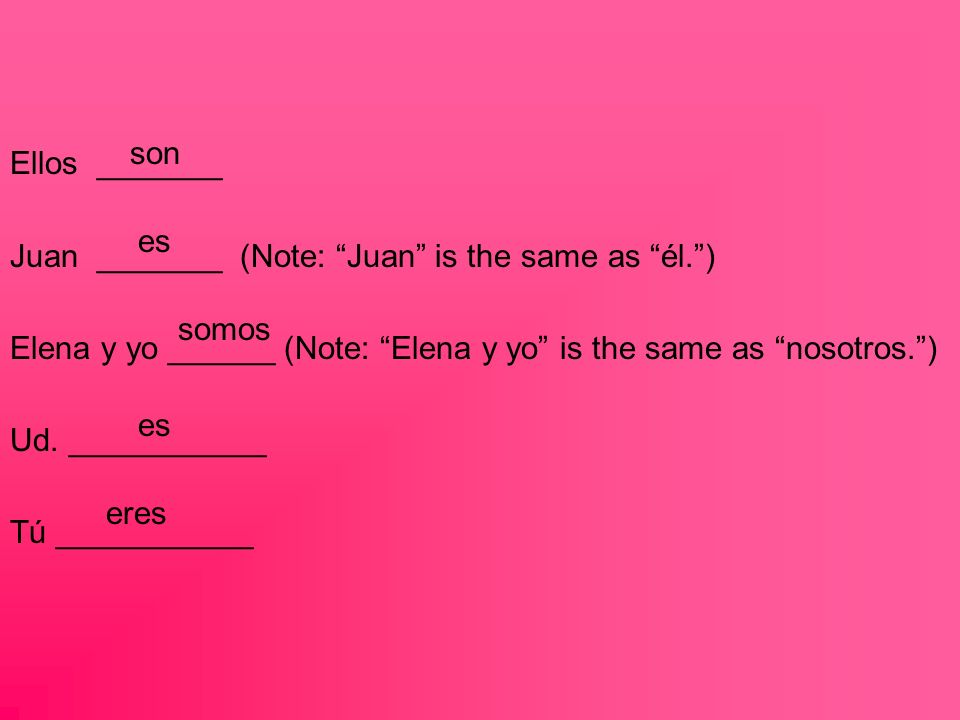 Ellos _______ Juan _______ (Note: Juan is the same as él.) Elena y yo ______ (Note: Elena y yo is the same as nosotros.) Ud.