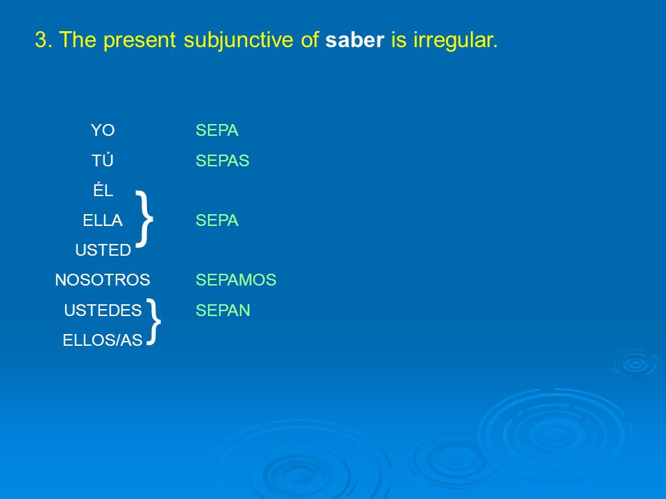 3. The present subjunctive of saber is irregular.