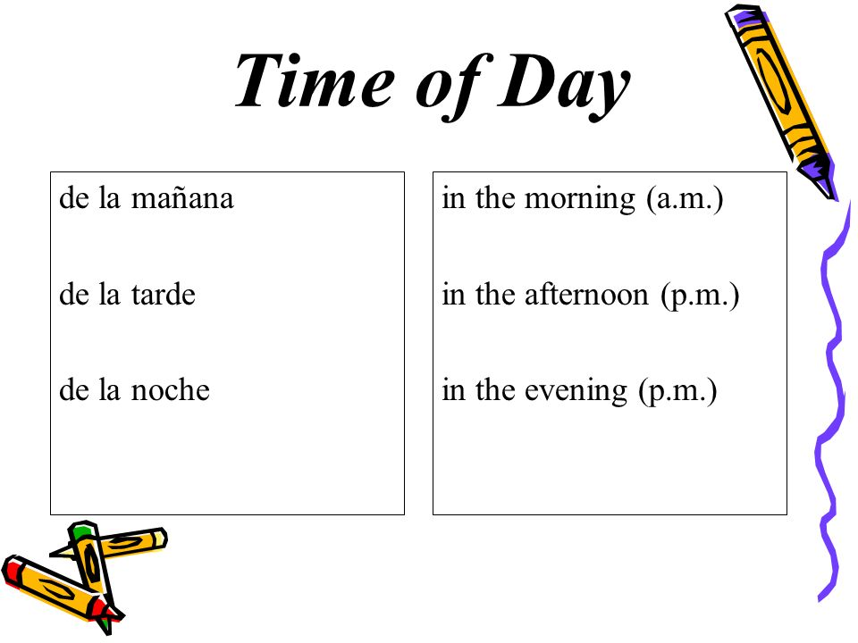 Time of Day de la mañana de la tarde de la noche in the morning (a.m.) in the afternoon (p.m.) in the evening (p.m.)