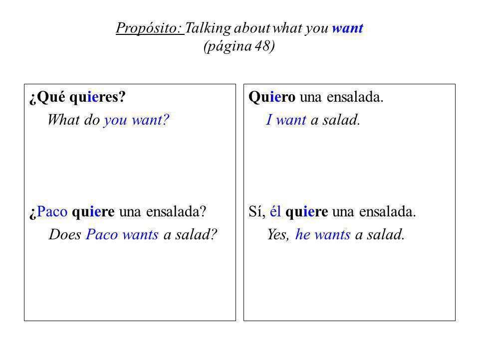Propósito: Talking about what you want (página 48) ¿Qué quieres.