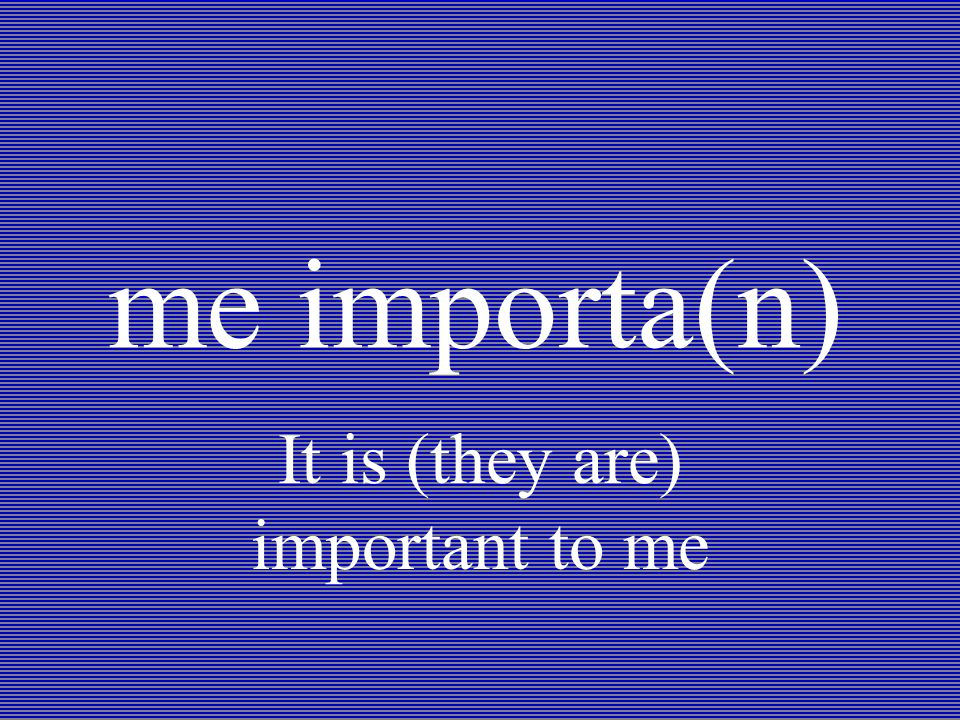 me importa(n) It is (they are) important to me