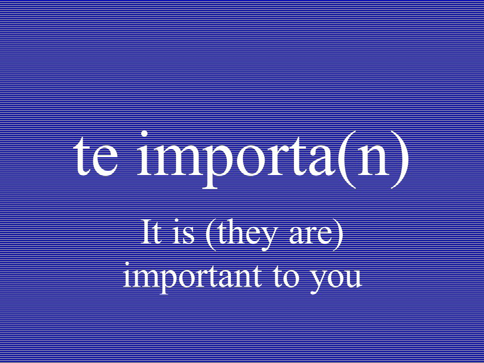 te importa(n) It is (they are) important to you