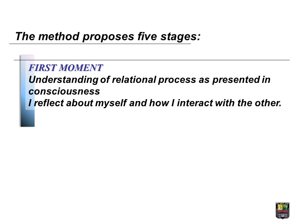 The method proposes five stages: FIRST MOMENT Understanding of relational process as presented in consciousness I reflect about myself and how I interact with the other.