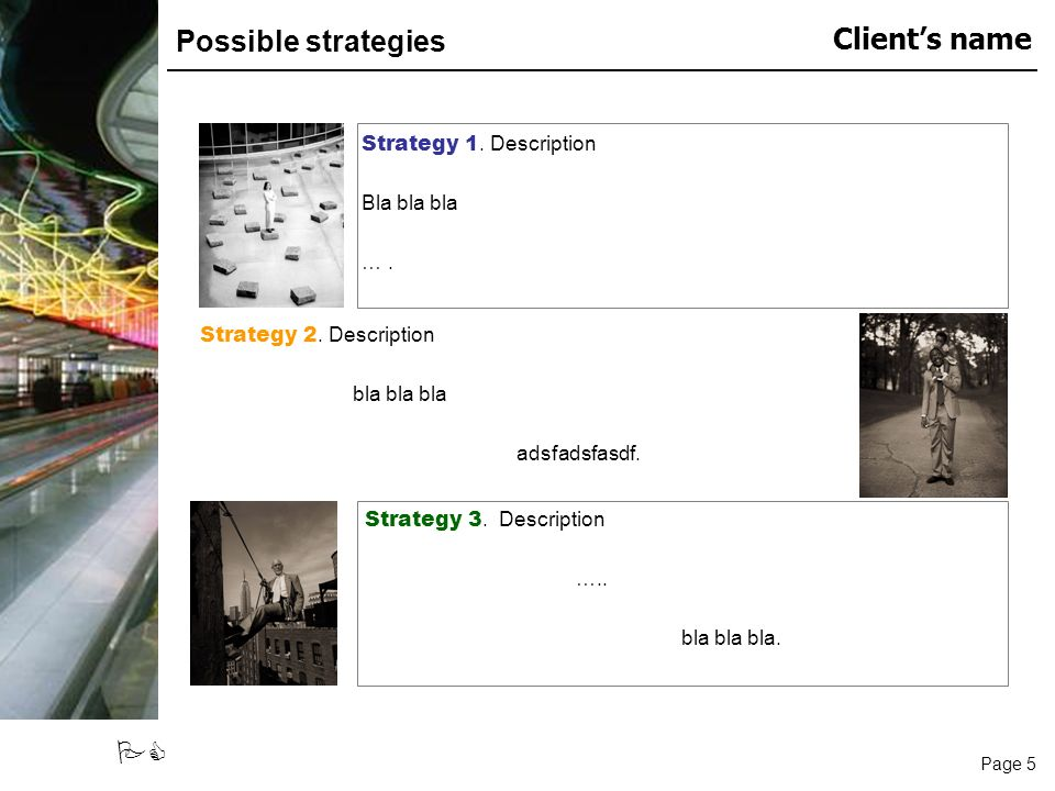 Page 5 Clients name PC Possible strategies Strategy 1.