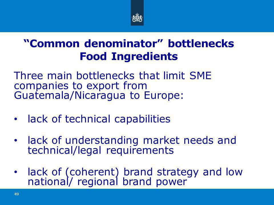 Common denominator bottlenecks Food Ingredients Three main bottlenecks that limit SME companies to export from Guatemala/Nicaragua to Europe: lack of technical capabilities lack of understanding market needs and technical/legal requirements lack of (coherent) brand strategy and low national/ regional brand power 49