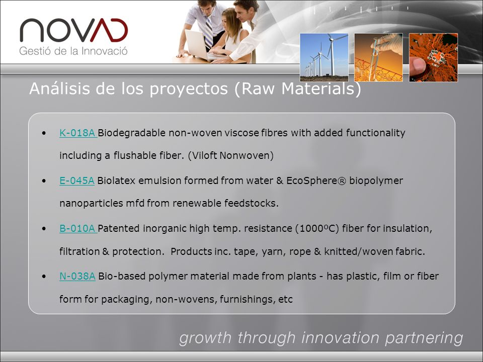Análisis de los proyectos (Raw Materials) K-018A Biodegradable non-woven viscose fibres with added functionality including a flushable fiber.