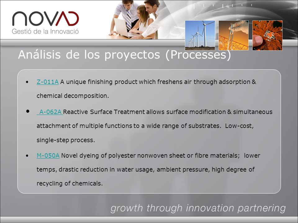 Análisis de los proyectos (Processes) Z-011A A unique finishing product which freshens air through adsorption & chemical decomposition.Z-011A A-062A Reactive Surface Treatment allows surface modification & simultaneous attachment of multiple functions to a wide range of substrates.